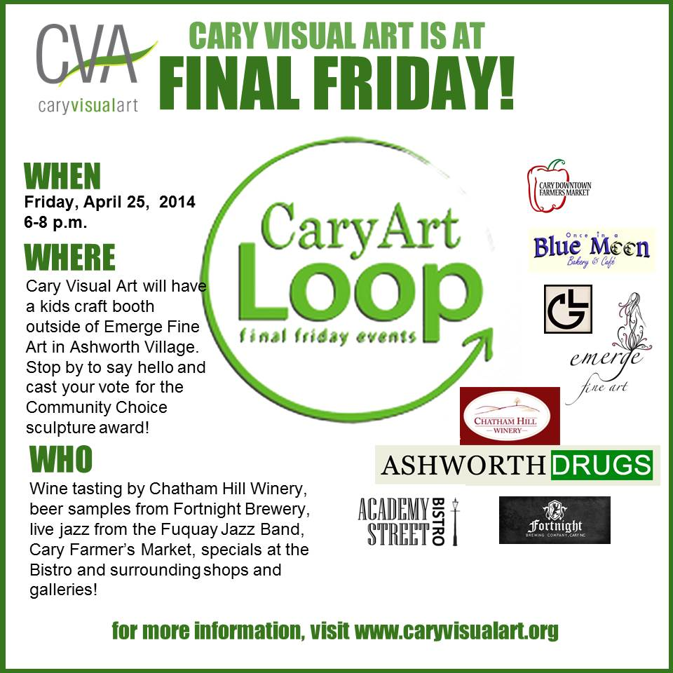 Cary Visual Art Presents Final Friday Festivities @ Emerge Fine Arts | Cary | North Carolina | United States